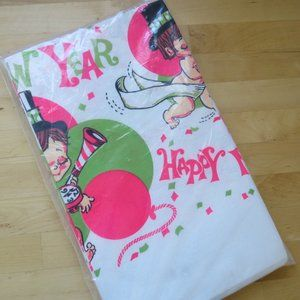 Vintage New Years Eve Paper Tablecloth Length